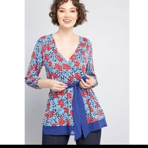 Modcloth outgoing guidance  3/4 tunic top red blue